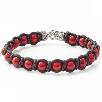 Scott Kay Red Shell Pearl and Leather Bracelet with Sterling Silver Lobster Clasp
