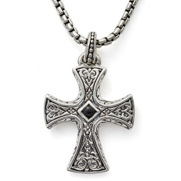 Scott Kay Sterling Silver Sparta Engraved Cross Necklace with 26 Inch Sterling Silver Box Chain