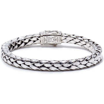 Scott Kay Equestrian Sterling Silver Braided Bracelet, 18K Gold Accent, 7mm wide and 8.5 inches long