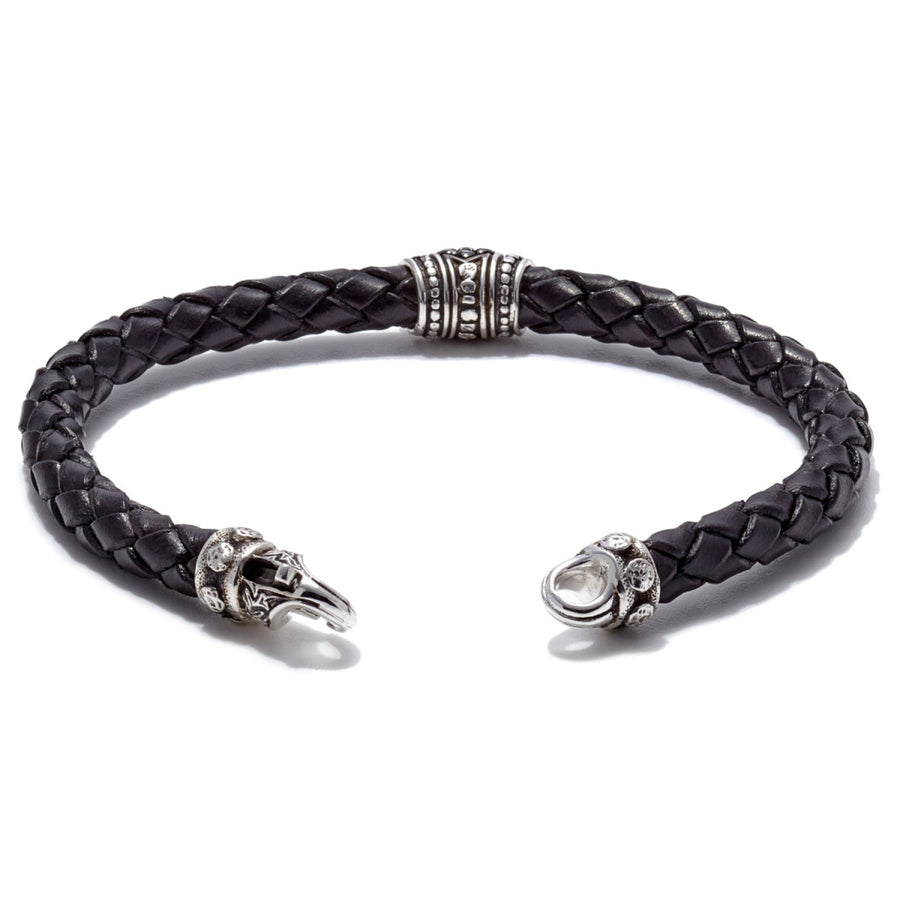 Scott Kay Sparta Collection Black Leather Bracelet, Pave Station Sterling Silver with Black Sapphire 6mm, size 8.5 inches