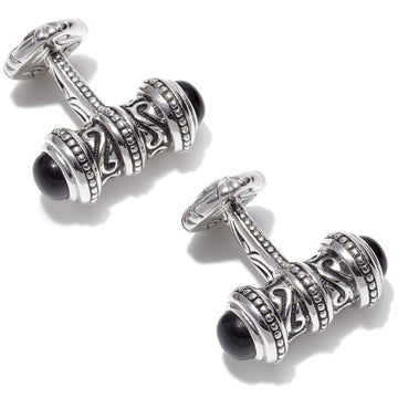 Scott Kay Engraved Sterling Silver Black Cufflinks, Sparta Collection, Onyx End Caps