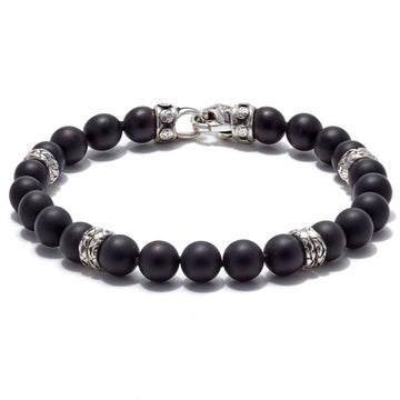 Scott Kay Beads Collection Matte Onyx Stone Bracelet with Distressed Stations, 8mm, 9.0 inches long