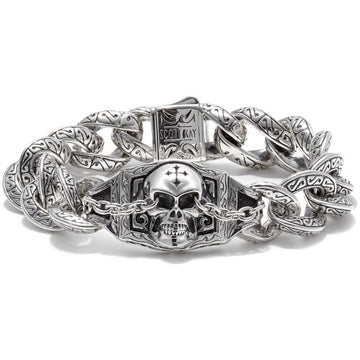 Scott Kay Sparta Collection Sterling Silver Skull Bracelet with Sparta Engraving, 8.5 inches
