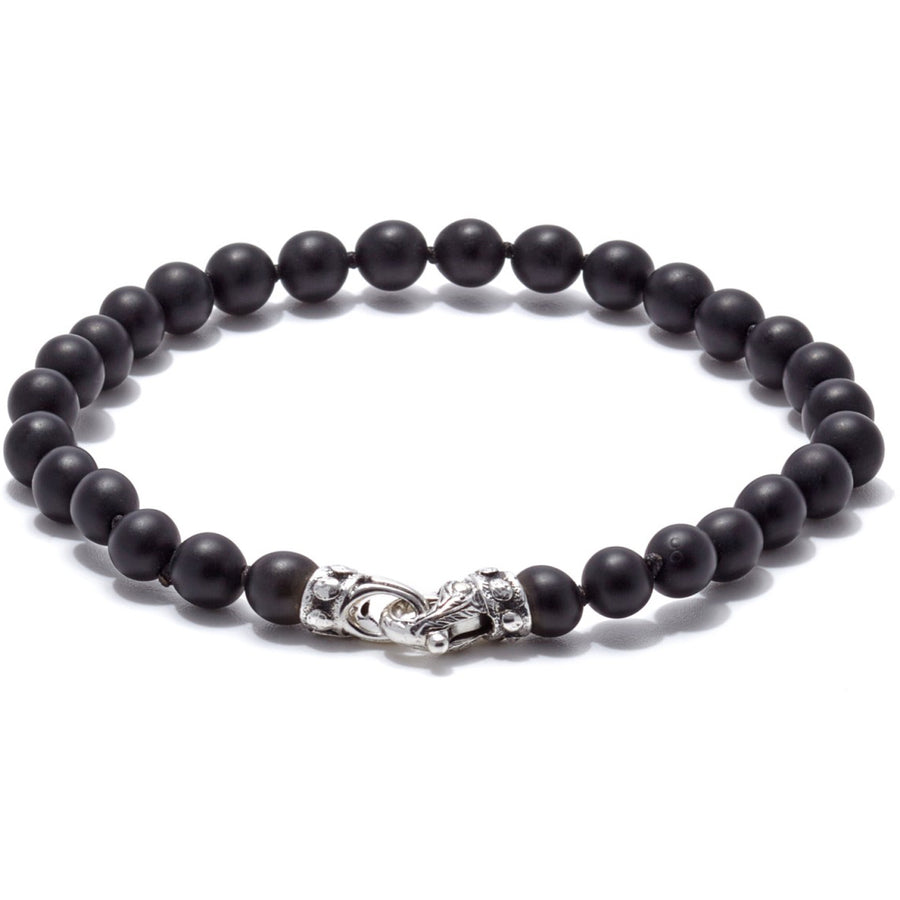 Scott Kay Matte Black Onyx Bracelet Men's Beads Collection with Sterling Silver Clasp, 6mm, 8.5 inches