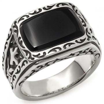 Scott Kay Men's Sparta Black Stone Ring, Sterling Silver and Onyx