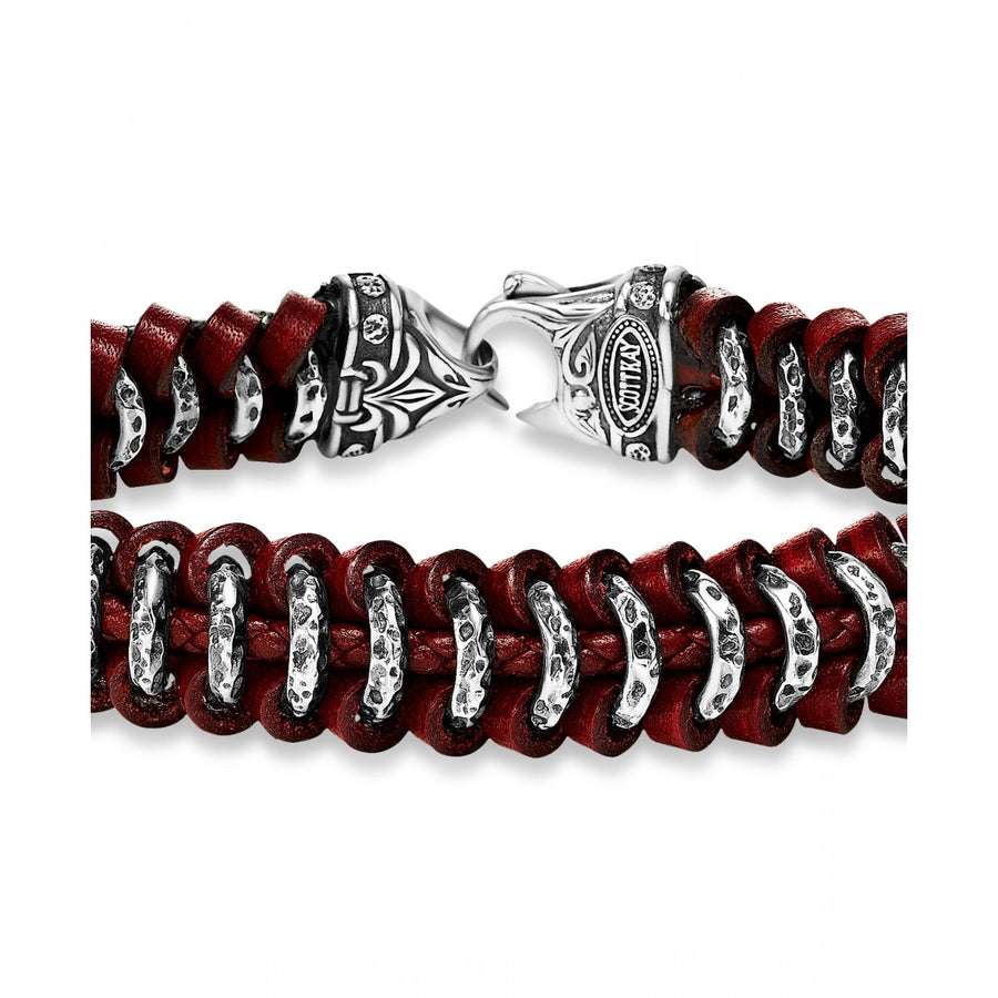 Scott Kay Woven Leather Samurai Red Sterling Silver Bracelet, 8.5 Inches