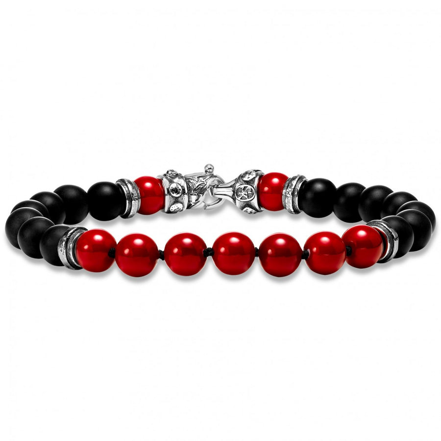 Scott Kay Black and Red Beaded Bracelet, Onyx and Shell Pearl with Sterling Silver Clasp