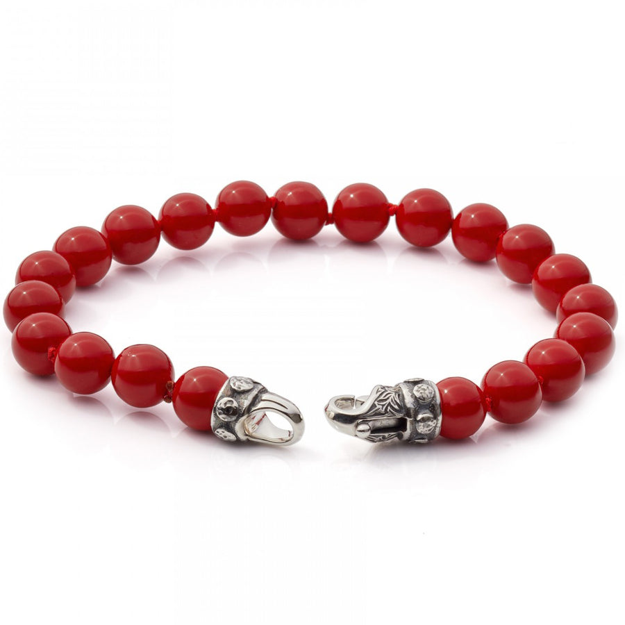 Scott Kay 8mm Beaded Red Bracelet For Men with Sterling Silver Clasp, 8.5 In