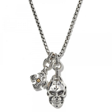 Scott Kay Sterling Silver/18K Skull and Cross Pendant on 26