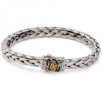 Scott Kay Sterling Silver Woven Equestrian Bracelet with 18K Logo, 8.5 IN