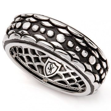 Scott Kay Carved Serpent Scale Black and Silver Ring