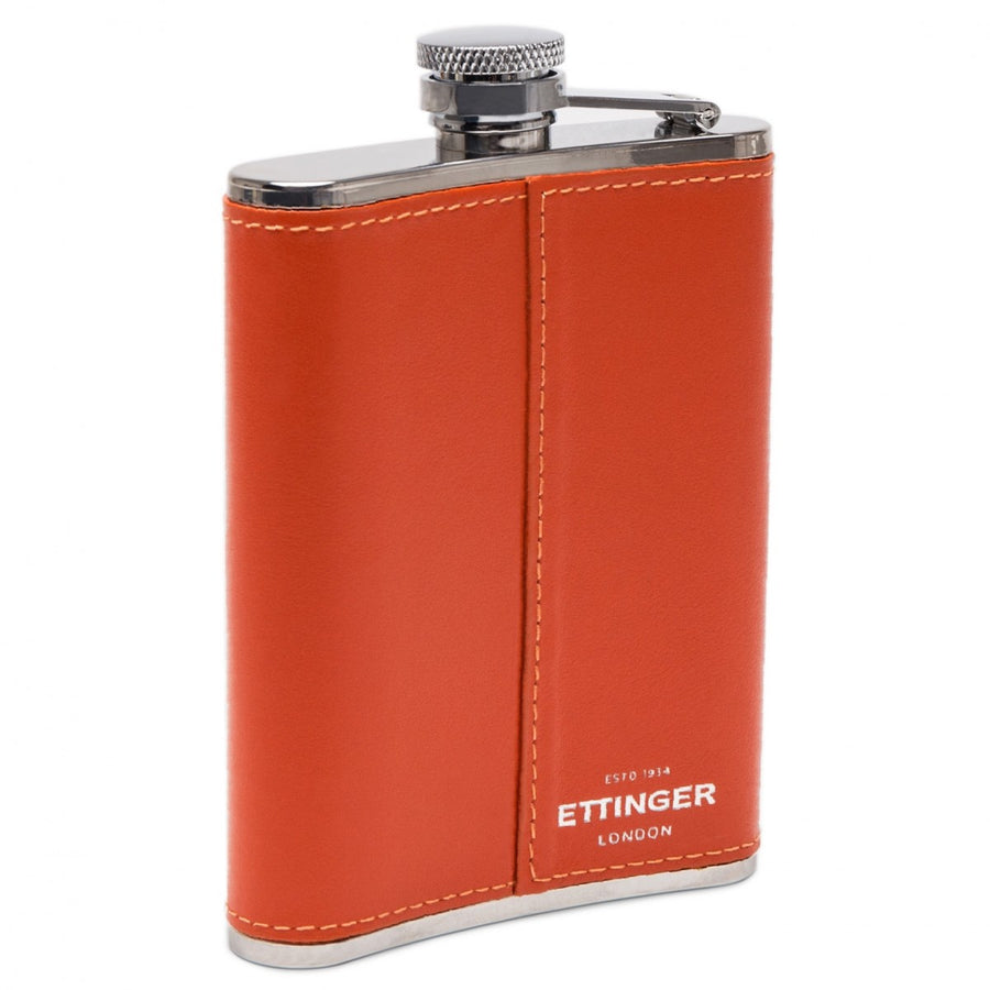Ettinger Sterling Collection 6OZ Leather Bound Stainless Steel Hip Flask with Captive Top, Orange/Silver