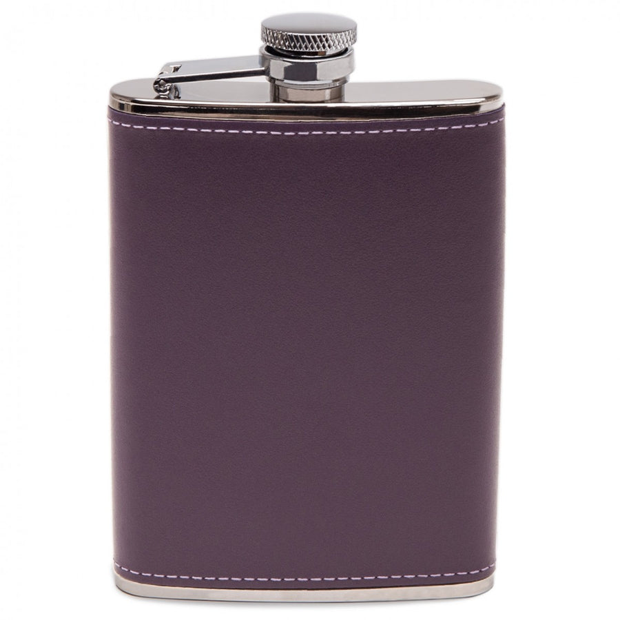 Ettinger Sterling Collection, 6OZ Hip Flask with Captive Top and Bound in Leather, Purple/Silver