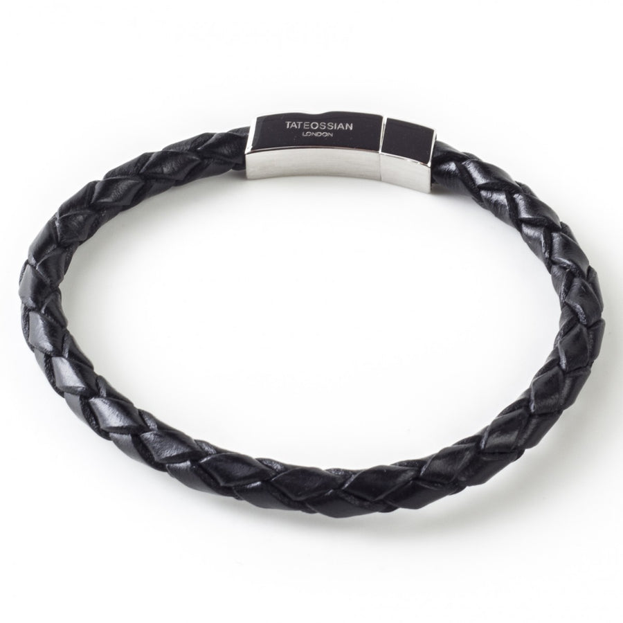 Tateossian Men's Italian Leather Pop Scoubidou Bracelet, Black and Silver