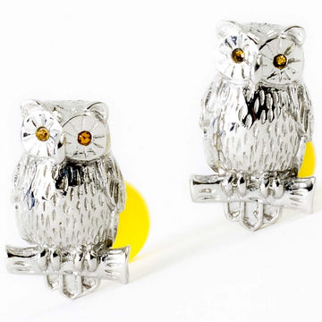 Tateossian Mens Owl Cufflinks - Silver/Yellow