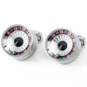 Tateossian Roulette Wheel Designer Cufflinks, Silver, Red and Black