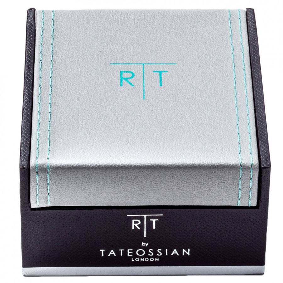 Tateossian Fibre Optic Rectangle Cufflinks, Silver and Black