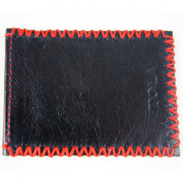 Tola Stanley Black Leather Credit Card Holder with Red Stitching - upscaleman.myshopify.com