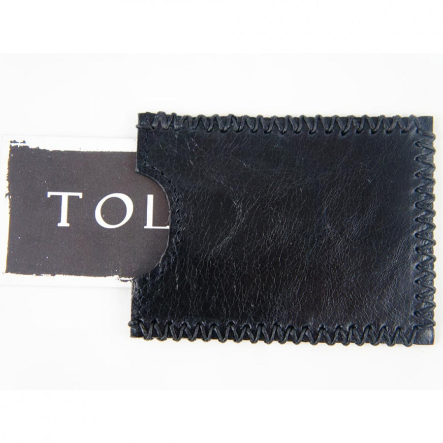 Tola Hide Leather Downtowner Card Holder with Black Hair and Stitching