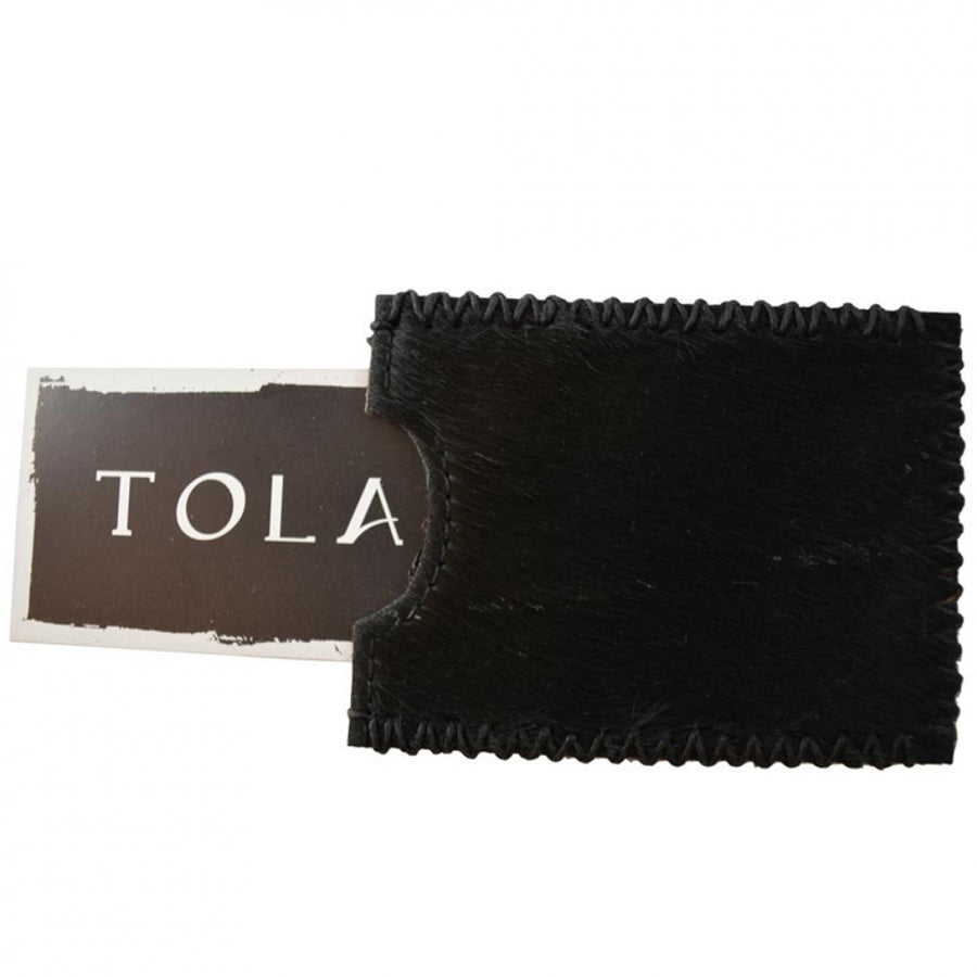 Tola Stanley Leather with Black Stitching Card Holder, Black