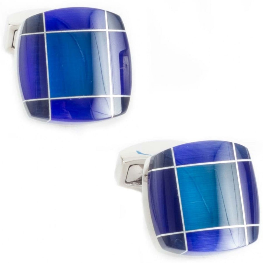 Tateossian Tartan Fusion Designer Cufflinks, Silver and Blue