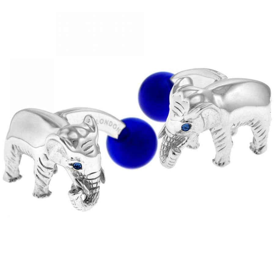 Tateossian Elephant Designer Cufflinks, Silver and Blue