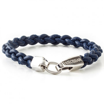 Tateossian Men's Italian Leather Navy Blue Bracelet with Sterling Silver Closure