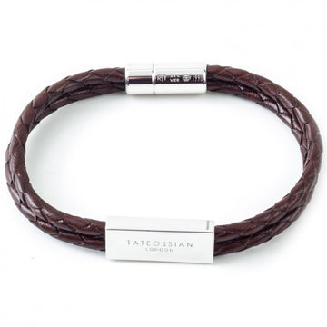Tateossian Men's Wrap Leather Bracelet, Sterling Silver, Brown