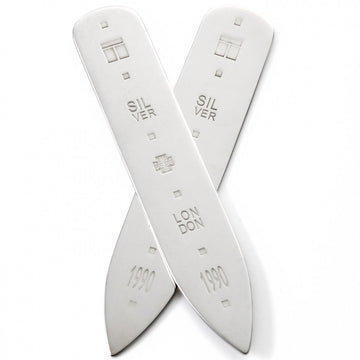 Tateossian Classic Men's Metal Collar Stays, Silver