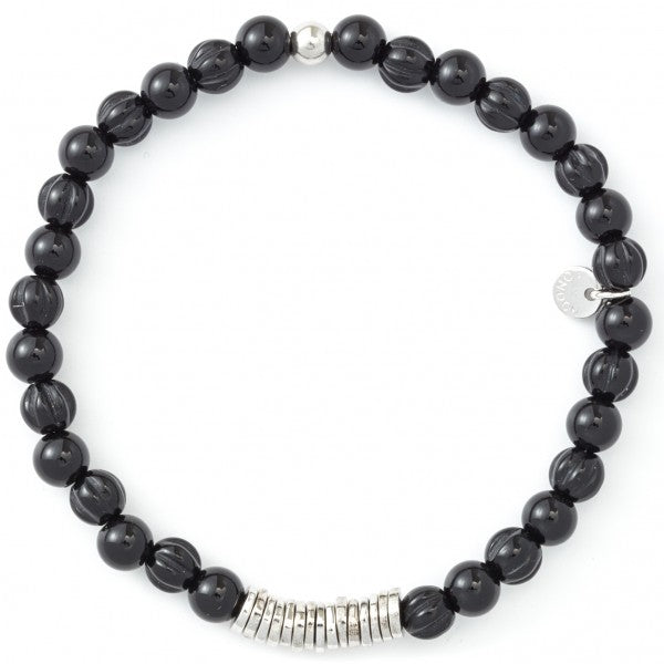 Tateossian Silver and Onyx Disc Round Bracelet, Silver and Black