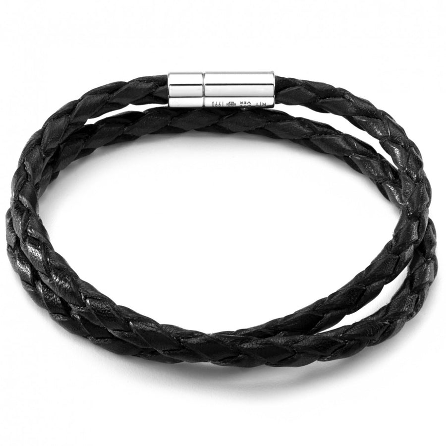 Tateossian Silver Pop Handmade Leather Bracelet, Black