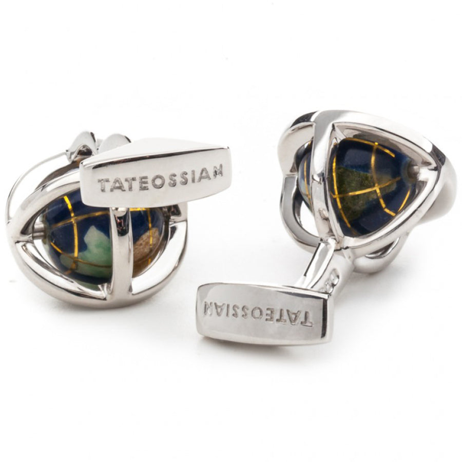 Tateossian Lapis Spinning Globe Cufflinks, Blue and Silver
