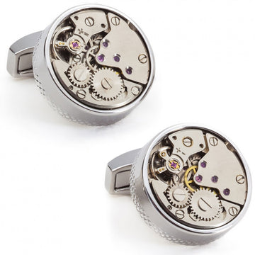 Tateossian Rhodium Plated Skeleton Movement Grey Cufflinks