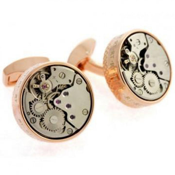 Tateossian Gold Plated Round Skeleton Movement Designer Cufflinks, Rose Gold, Pink and Grey