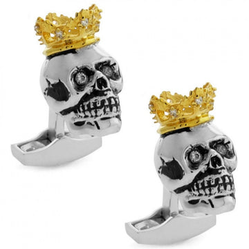 Tateossian King Skull with Gold Crown Cufflinks, Silver