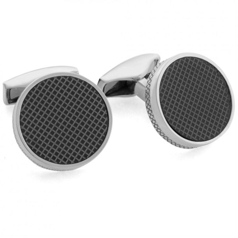 Tateossian Men's Silver and Agate Laser Round Cufflinks, Black