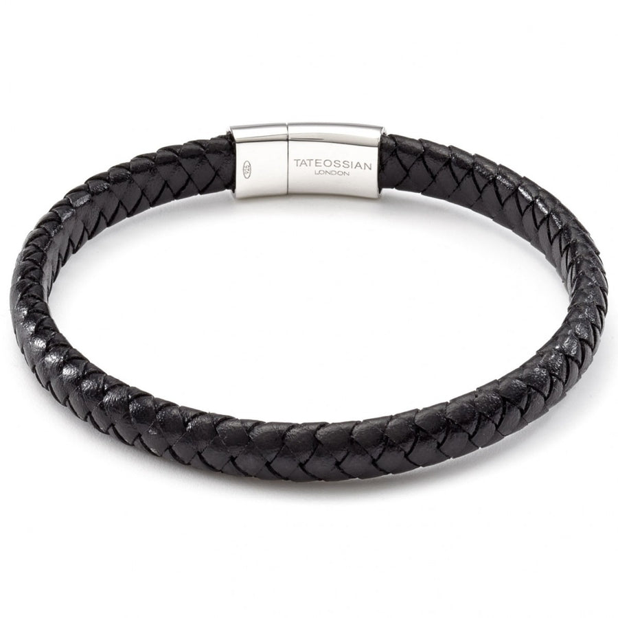 Tateossian Men's Leather Cobra Weave Bracelet with Sterling Silver Clasp, Black