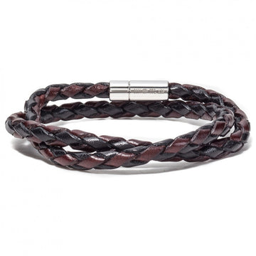 Tateossian Men's Leather Scoubidou Double Loop Braid Bracelet, Ebony and Brown with Silver Clasp