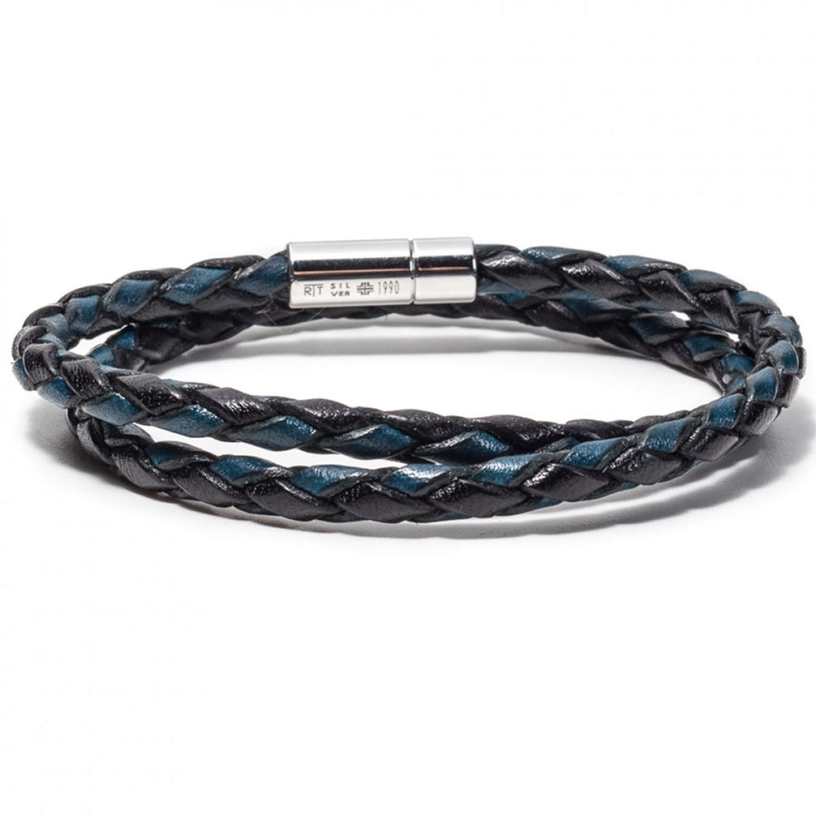 Tateossian Men's Pop Scoubidou Bracelet with Silver Clasp, Blue and Black, Length 41 CM