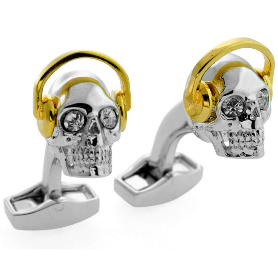Tateossian DJ Skull Yellow Gold Cufflinks