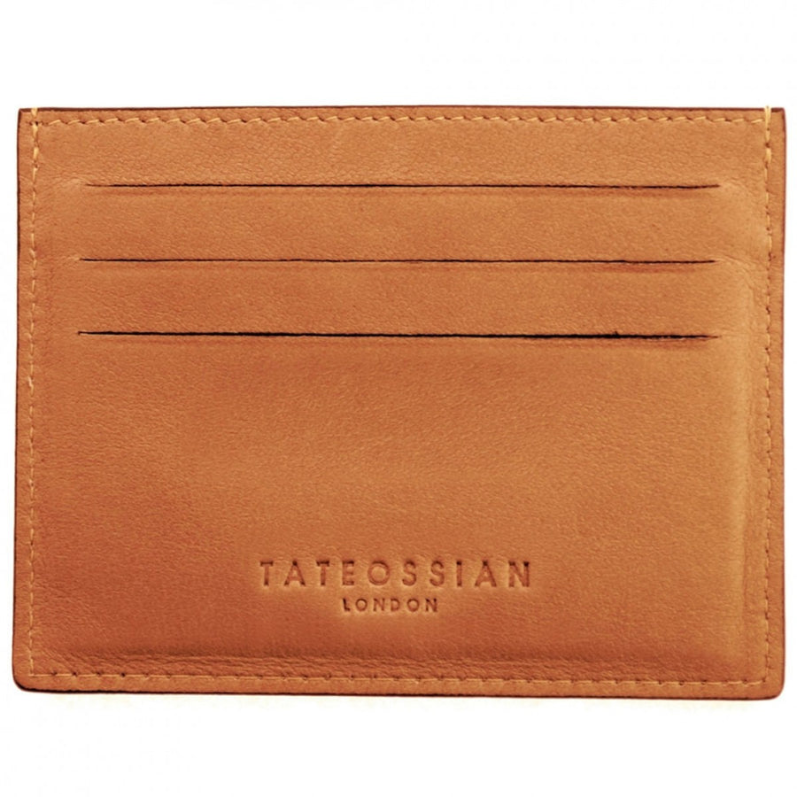 Tateossian Card Holder with Tiger Eye Inlay - Brown and Tan
