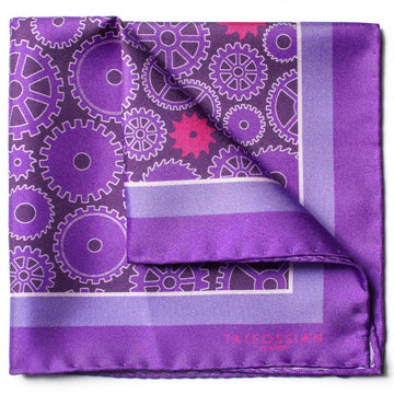 Tateossian Gear Designer Pocket Square, Purple