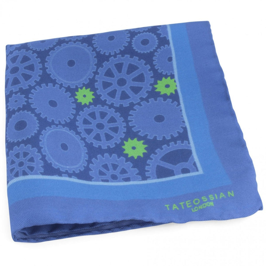Tateossian Gear Designer Pocket Square, Blue