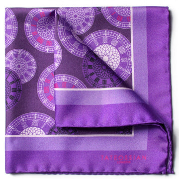 Tateossian Big Ben Designer Pocket Square, Purple
