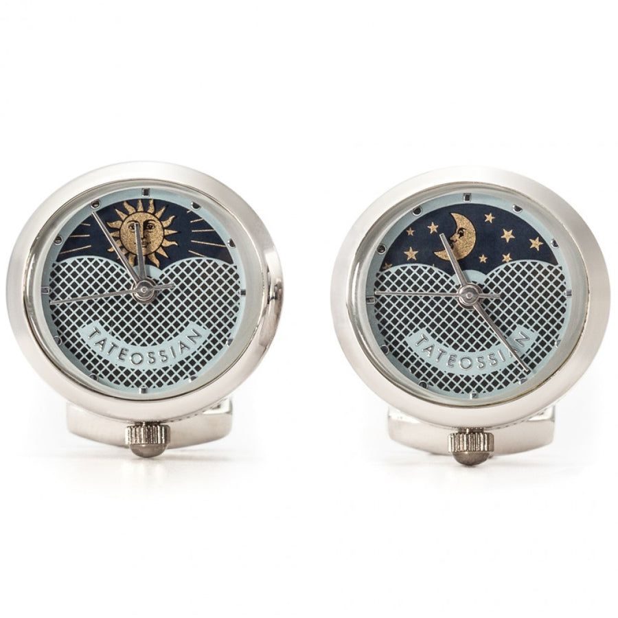 Tateossian Watch Cufflinks, Sun and Moon Movement
