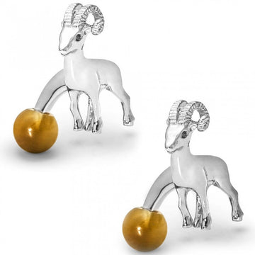 Tateossian Men's Rhodium Plated Ram Animal Cufflinks, Silver