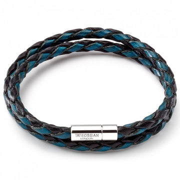 Tateossian Double Wrap Scoubidou Black and Blue Bracelet