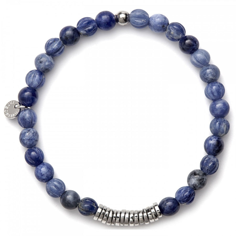 Tateossian Men's Indigo Bracelet, Blue Sodalite Beadeds with Silver Spacer Discs