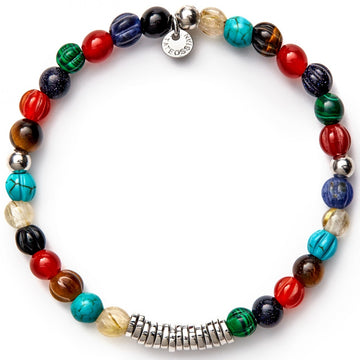 Tateossian Multi Coloured Stone Bracelet with Silver Spacer Discs