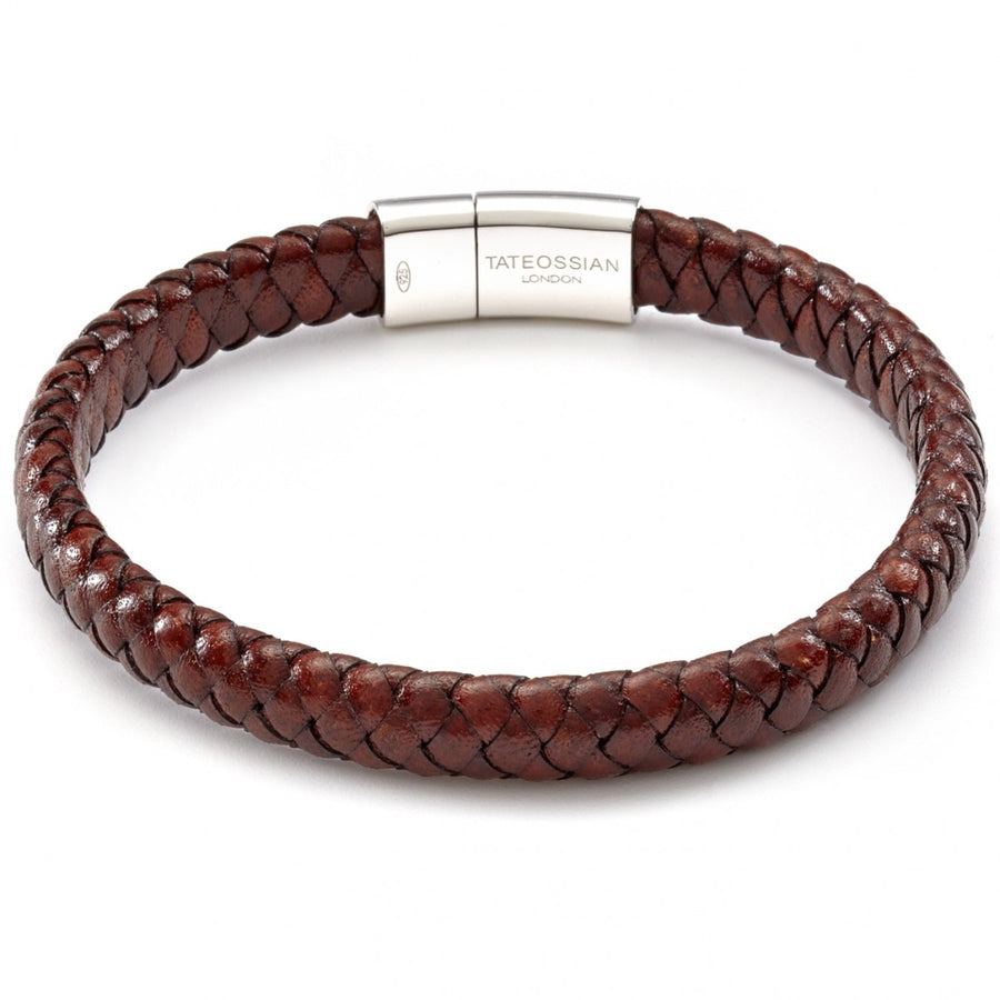 Tateossian Classic Cobra Men's Wide Leather Bracelet, Brown